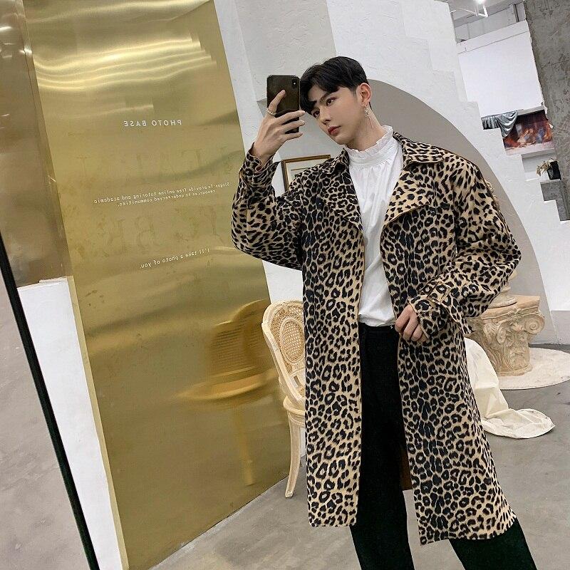 Männlich Vintage Mode Casual Windjacke Strickjacke Jacke Männer Leopard Print Lange Lose Graben Mantel-in Trench aus Herrenbekleidung bei  Gruppe 1