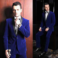 Velvet Royal Blue Men's Suits Wedding Groom Tuxedos Best Man Groomsman Suits