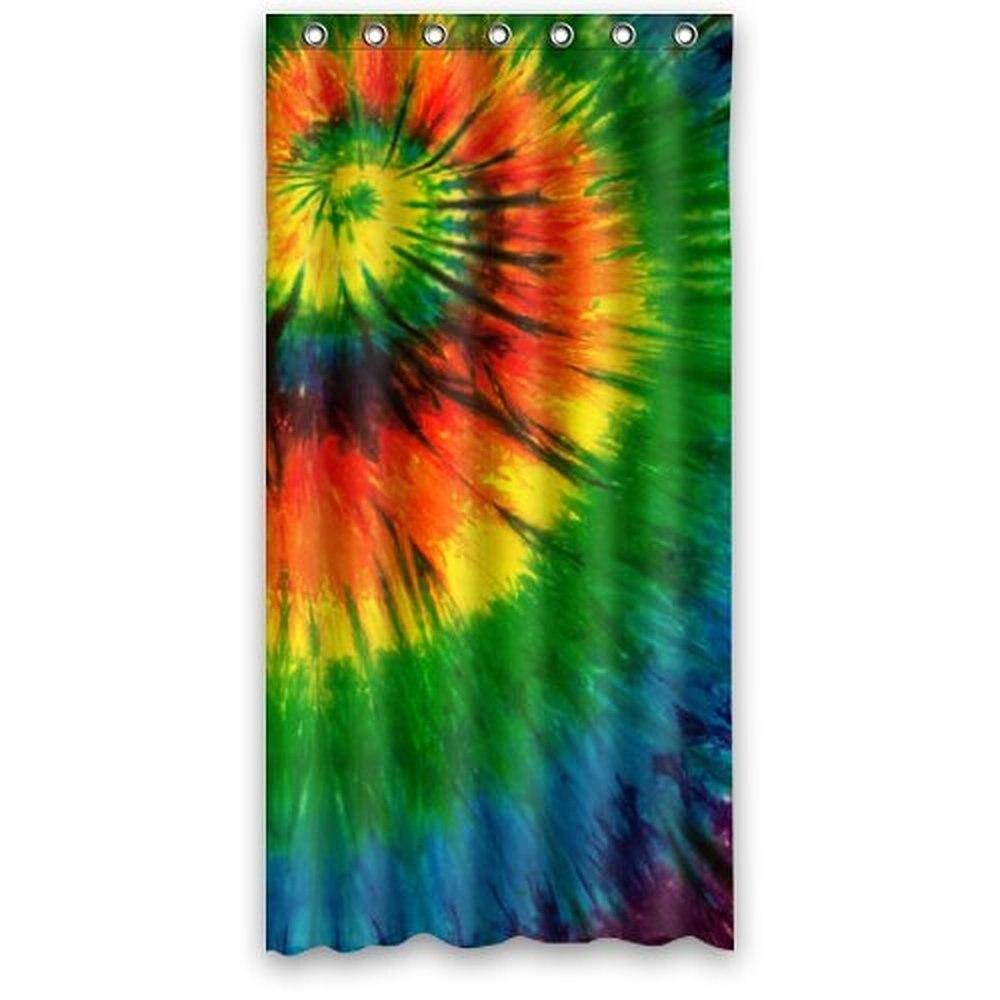 36w*72h inch Waterproof Bath Fabric Shower Curtain Watercolor Tie Dye  Trippy Art Design