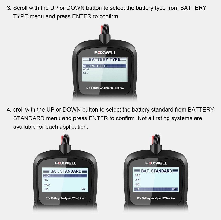Foxwell Bt100 Pro 12v Car Battery Tester For Lead Acid Flooded Agm Gel 6v 12 Volt Automotive Digital Battery Analyzer 1100cca
