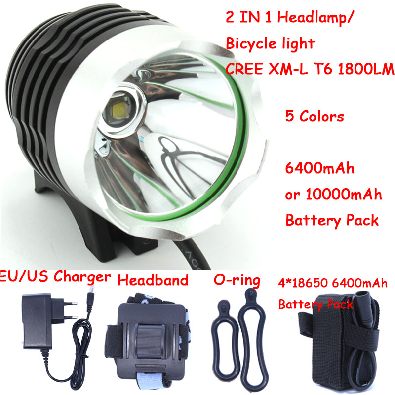 1800 Lumen XM-L T6 Bicyclette De Vélo De Lumière LED Lumière lampe de Poche avec 8.4 V 6400 mah ou 10000 mAh Batterie Pack et chargeur