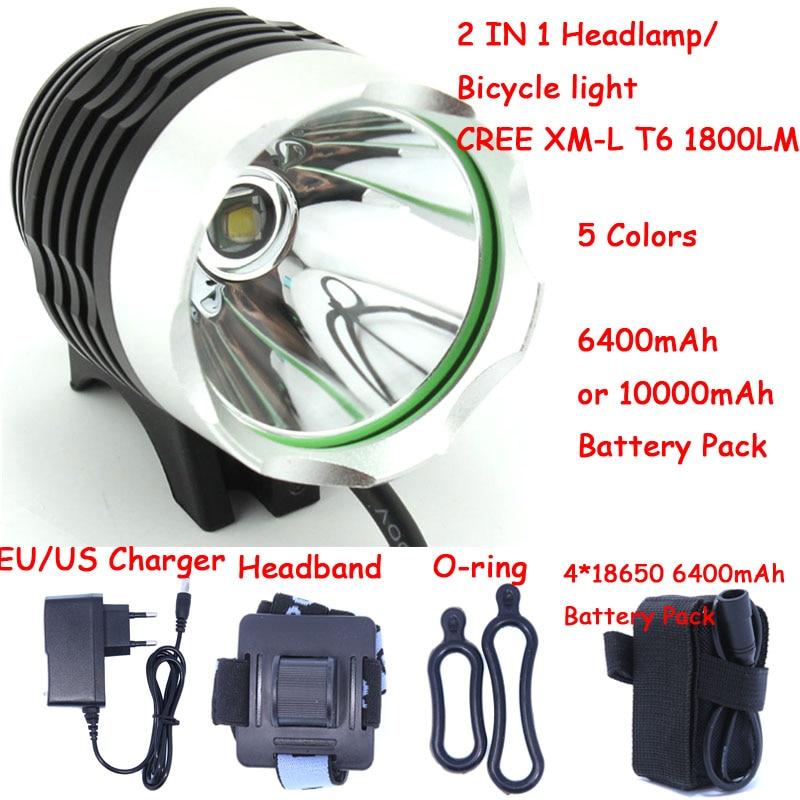 1800 Lumen XM-L T6 bicicleta DE LA BICI luz LED luz de la linterna con 8,4 V 6400 mAh 10000 mAh Paquete de batería y cargador