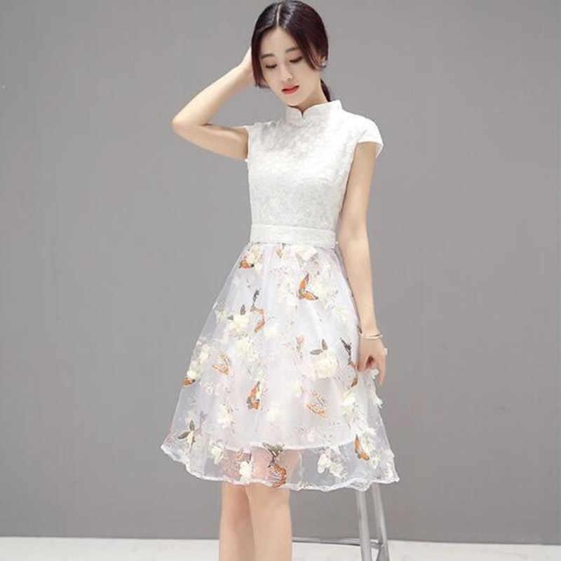 2e09c8e5fb9 Белое летнее платье женское платье Новинка Высокая Талия 3D Бабочка и  Цветочный Принт по колено тонкий
