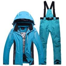 Ski Veste + Pantalon Chaud Ski Veste Épaissir Vêtements Pantalon Ensemble Solide Snowboard hommes femmes Combinaison de Ski Imperméable Coupe-Vent