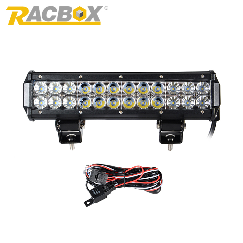 Prix pour RACBOX 12 pouces 72 W LED Travail Lecteur Lumière Lampe Bar Combo Offroad lumière 12 V Pour ATV SUV 4WD 4X4 Bateau Camion Tracteur CREE puces