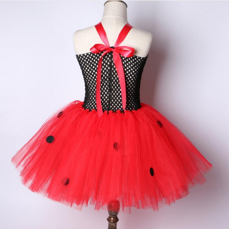 Girls Cosplay Ladybug Tutu Dress up Halloween Animal Ladybird Fancy Party Costume With Mask For Tollder Kids Clothes Red 2019 in Girls Costumes from Novelty Special Use