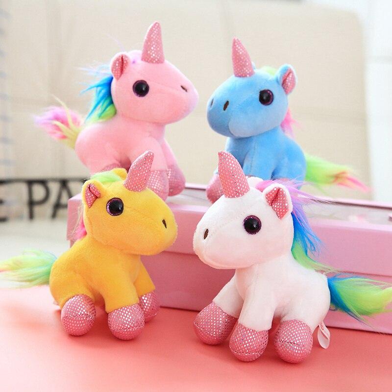 Color Tail Unicorn Pendant Color Unicorn Doll Plush Toy Doll Sitting Unicorn Doll