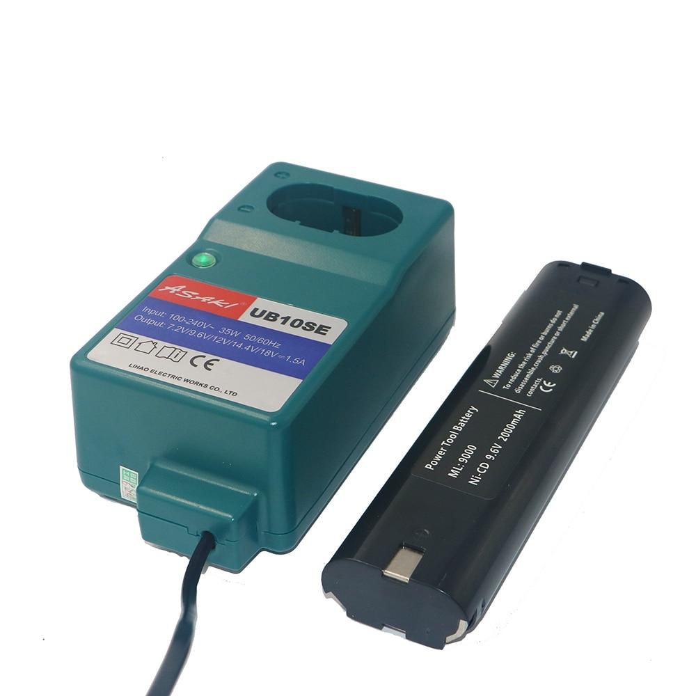 DVISI 9.6 V 2000 mAh Rechargeable Batterie avec mini Chargeur interchangeable pour Makita 9000 9001 6092D 2.0Ah Ni-CD