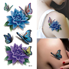 1Pcs 3D Colorful Waterproof Body Art Sleeve DIY Stickers Glitter Temporary Tattoos Fake Flower Rose Sex Product Tatoo