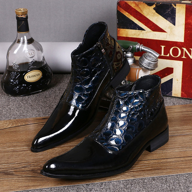 bf9d570a0a2 US $90.27 30% OFF Mixed Colors Blue Serpentine Genuine Leather Motorcycle  Boots Fashion Cowboy Boots Mens Pointed Toe Side Zipper Military Boots-in  ...