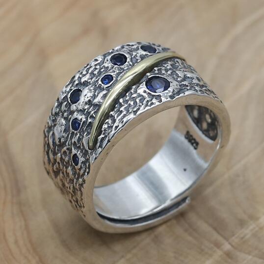купить NEW 100% 925 Silver Man Ring Vintage Sterling Ring Pure Silver Man Ring Adjustable онлайн