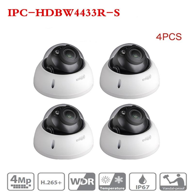 DH IPC-HDBW4433R-S 4Pcs/lot 4MP IP Camera Replace IPC-HDBW4431R-S IK10 IP67 POE SD Card Slot Starnight Cam Great Night Vision dahua ipc hdbw4431r s h2 65 4mp ik10 ip67 ip camera dh ipc hdbw4431r s with poe sd slot cctv camera multi languag firmware