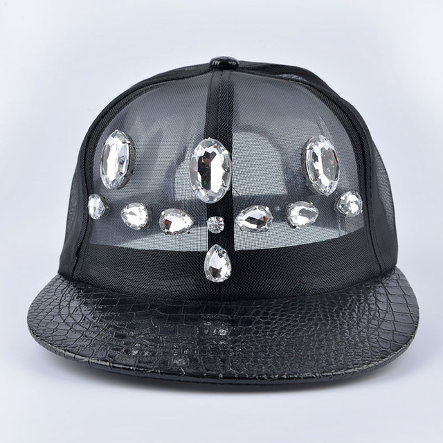 2016 black women fashion crystal Rhinestone Floral net Baseball Caps grace chapeau femme casquette mesh cap snapback sun hat