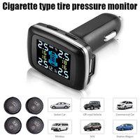 Universal Tire Pressure Monitoring System Gauge Tmps Intelligent Monitor USB Cigarette Type 4 External Sensors Meter Digital