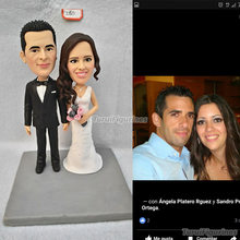Cartoon bobblehead wedding cake topper bride groom face sculpt handcraft by Turui Figurines bride and groom anniversary souvenir цена