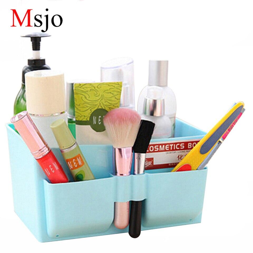 Msjo Makeup Organizers Plastic Storage Box Home Jewelry Earring Lipstick Nail Polish Organizer For Cosmetics Storage Box