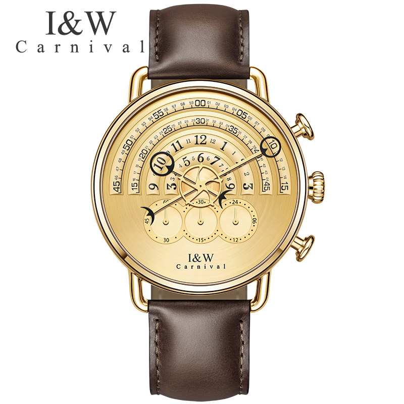 Runway design Luxury Fashion Watches Carnival Men Chronograph Sports Quartz Watch Brown Leather Wristwatches Sapphire Gold Case seiko watch premier series sapphire chronograph quartz men s watch snde23p1