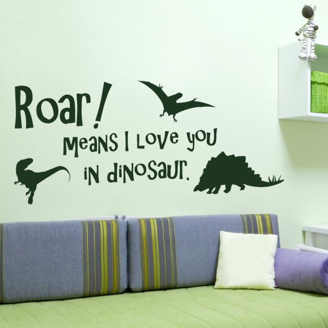 Custom made dinosaur quote wall sticker art decal home decor mural for boys rooms you choose name and color in wall stickers from home garden on