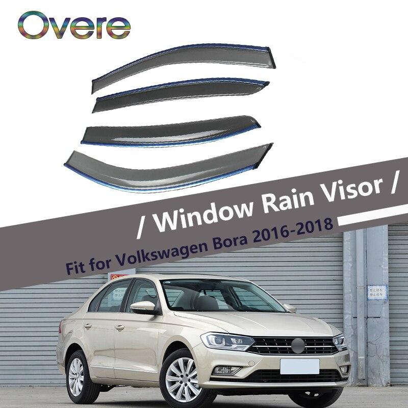 Overe 4pcs 1set Smoke Window Rain Visor For Volkswagen Vw Bora 2016 2017 2018 Styling Vent Sun Deflectors Guard Accessories