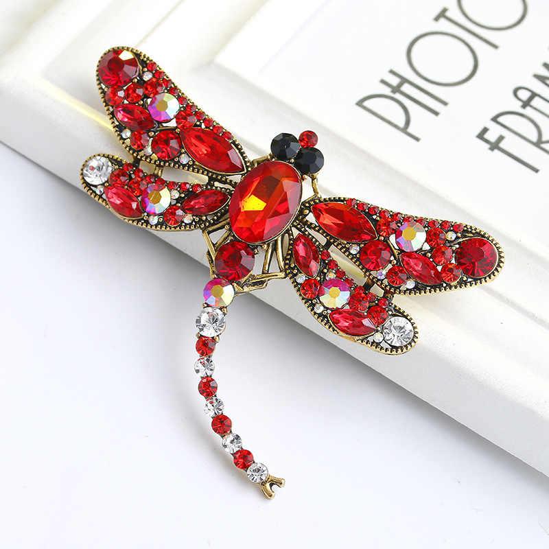2019 Разноцветные кристаллы Винтажная брошь в виде стрекозы большие броши с насекомыми для женщин модное платье пальто аксессуары милые ювелирные изделия