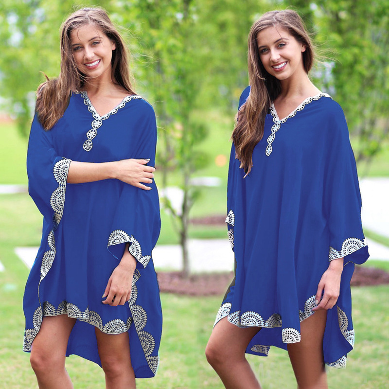 Dress For Beach 2019 Outings Tunic Summer Cover Up Women Suits May Women's Swimdress Bat Long Sleeve Cotton Embroidered Outer