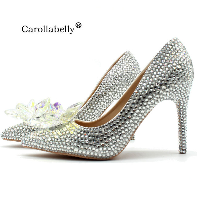 23f2070ecb1e 2018 New Rhinestone High Heels Cinderella Shoes Women Pumps Pointed toe  Woman Crystal Wedding Shoes high heel big size