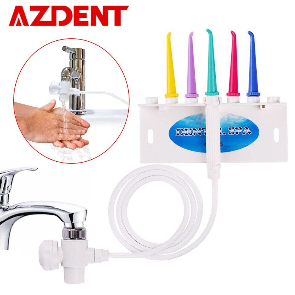 AZDENT Rubinetto Acqua Flosser Dentale Spazzolino Interdentale Dente SPA Cleaner Getto Irrigatore Orale Sbiancamento Dei Denti Pulizia Spazzolino Da Denti
