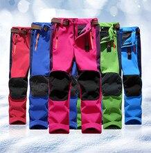 Children Softshell Hiking Pants Boy Girl Camping Trousers Trekking Mountain Climbing Winter Fleece Pant Kids Pantalon Senderismo