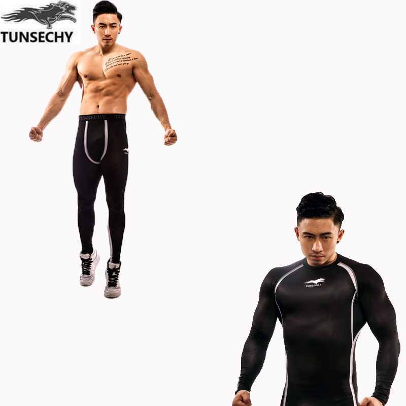 TUNSECHY New Quickly Dry Compression Tracksuit Fitness Tight  Set T-shirt Pants Leggings Men's Sportswear Demix Gym Sport