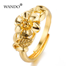 WANDO Women Ring Gold Color Ethiopian Bride Wedding Rings Africa Jewelry/Arab Italy France/Nigeria/Middle East jewelry gift R63(China)