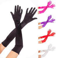 55cm Elbow Long Tight Wedding Party Gloves Full Fingers Glossy Satin Bridal Prom Party Gloves Cheap Wedding Accesories