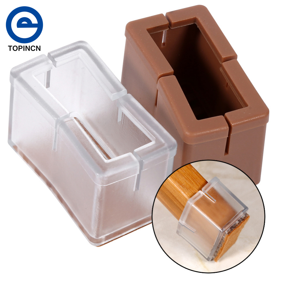 8pcs Silicone Chair Leg Furniture Table feet Covers Floor Protectors 2.4 x 4.5 x 3.1cm (Transparent/Brown)