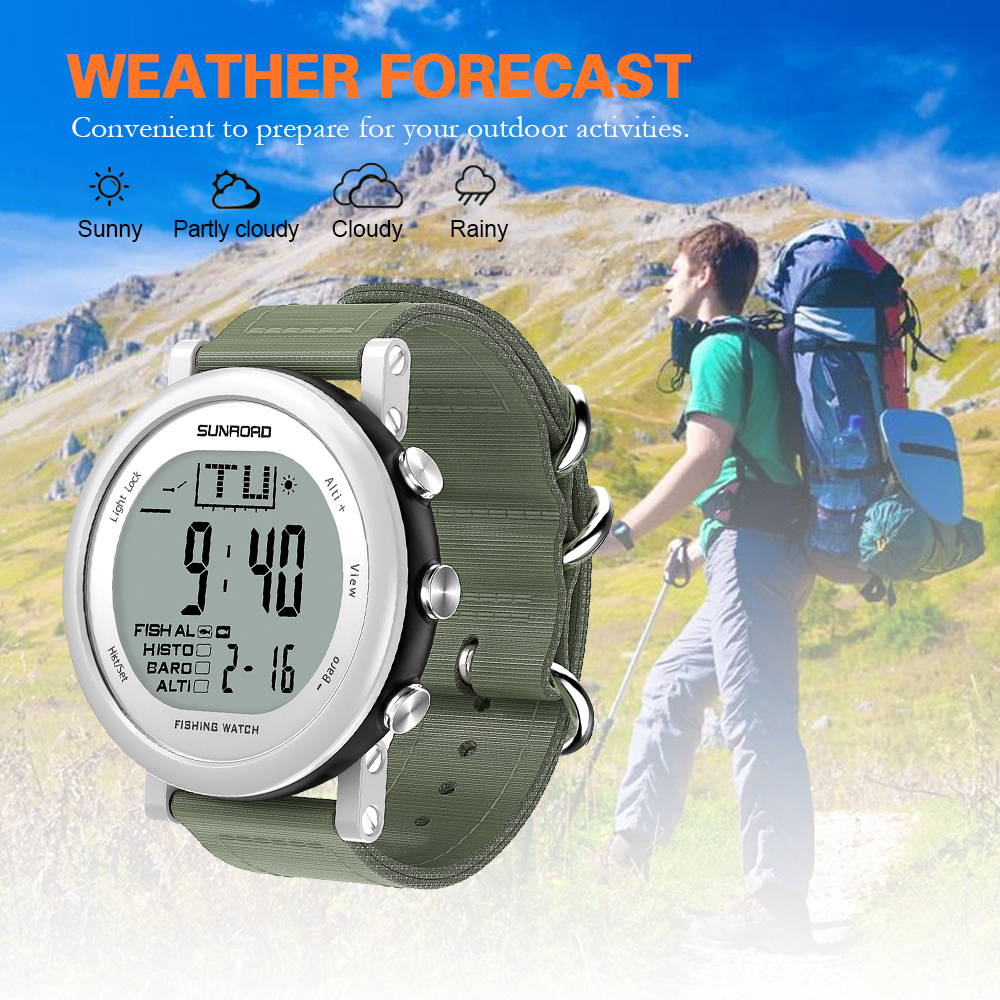 SUNROAD Outdoor Digital Sport Watch Fishing Barometer Watches Men Women Hiking Weather Forecast Altimeter Thermometer Wristwatch цена