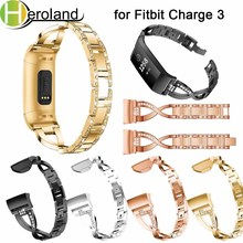 Replacement Steel WatchBand For Fitbit Charge 3 Wristbands Smart Watch Band Strap Bracelet Crystal Metal Genuine Luxury alloy