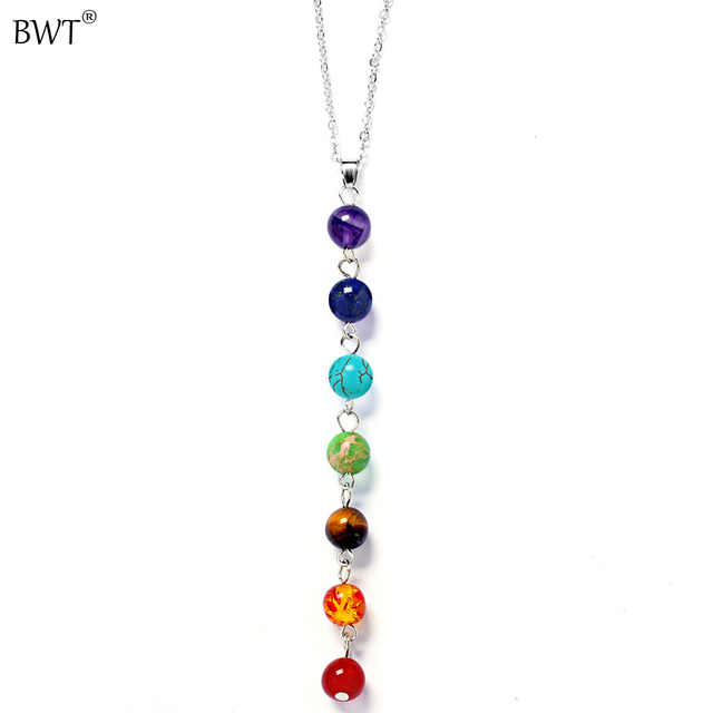 Bwt 4 style silver color seven color stone chakra necklaces bwt 4 style silver color seven color stone chakra necklaces pendants yoga reiki healing balancing 7 mozeypictures Image collections
