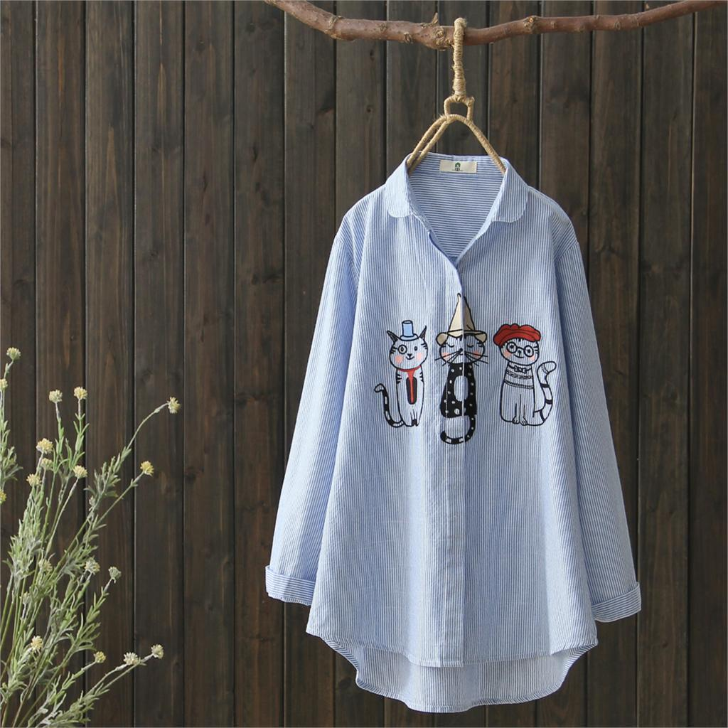 924242fc0 ... Cats Embroidery Cute Woman Shirts Long Sleeve Autumn Tops Femme Turn  Down Collar Striped Casual Blouses Harajuku Blusas. -24%. Click to enlarge