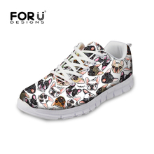 FORUDESIGNS Women Casual Sneakers Cute Animal French Bull Pug Dog Pattern Female Flats Lace-up Shoes Comfortable Flat for Ladies