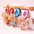 Creative Gladiolus Flower Keychain Crystal Rhinestone Key Chain Fashion Keyrings Car Key Ring Pendant Promotional Gifts
