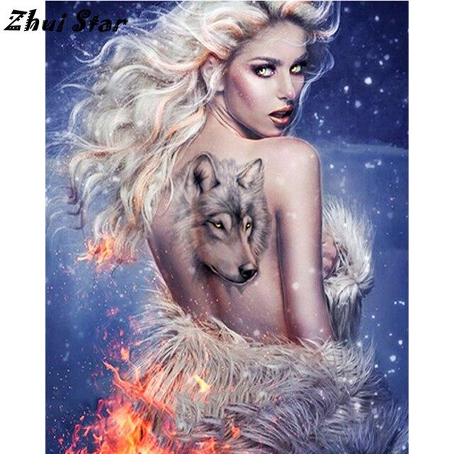 New 5d Diy Full Square Diamond Painting Beautiful Wolf Tattoo 3d