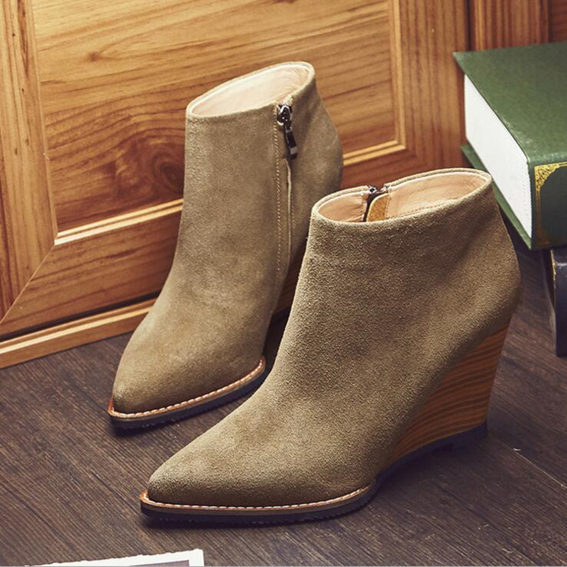Dousin Partin Suede wedges Spring boots Ankle Women Shoes