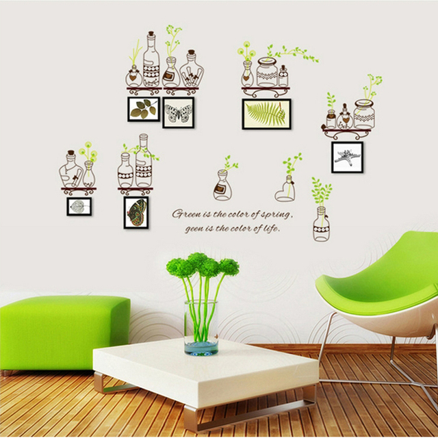 Bottle Green Leaves Frame Photo Wall Stickers Tree For Kids Rooms Home  Decor DIY Wallpaper Art Part 77
