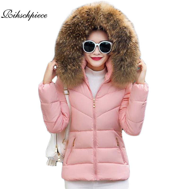 Rihschpiece 2018 Plus Size 3XL Fur Hoodies Winter Jacket Women   Parka   Coat Cotton Padded Jackets Print Casual Clothes RZF1286