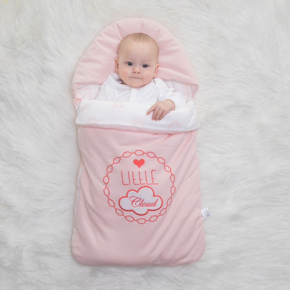 Baby sleeping bag envelop for neonate pure cotton newborn baby infant wrapped cocoon in winter stroller bag can embroider name boy girl infant wrap envelop for newborns sleeping bag pure cotton printed with fawn patterns thicken in autum winter or sprin