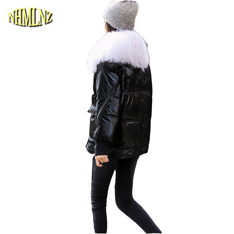 Fur collar Women   Down   jacket New Large size High quality Warm Hooded White duck   down   Fashion Solid color Women's   Down     Coat   LH370