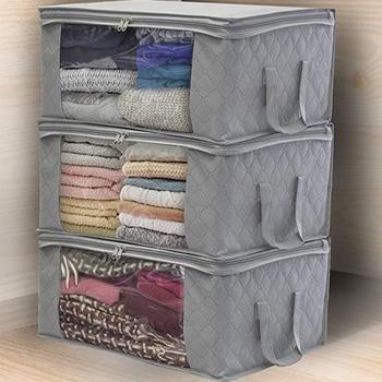 3Pcs Clothing Wardrobe Organizer Bag Clothes Blanket Quilt Closet Box Bag Home Foldable Storage Organization Wash Moisture-proof