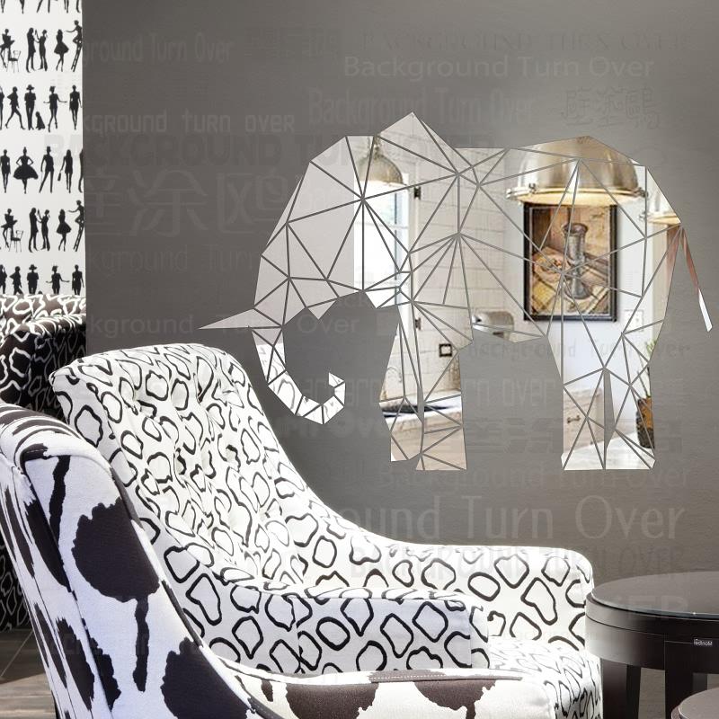 creativo d animales reflexivo acrlico espejo etiqueta de la pared decorativos elefante para nios parvulario decoracin saln