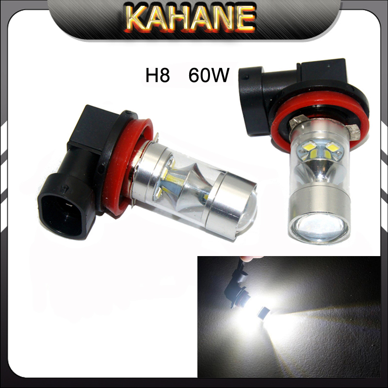 2PCS H8 H11 LED fog lamp 60W Cold White  Daytime Running Light Bulb 2323 SMD 6000K Car Auto Fog Driving DRL Car Headlight for VW auto led car bumper grille drl daytime running light driving fog lamp source bulb for vw volkswagen golf mk4 1997 2006 2pcs
