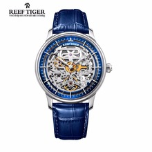 Men Watches Reef Tiger Brand Designer Automatic Watch Steel Case Skeleton Dial Leather Strap Waterproof Watch Relogio Masculino