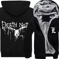 Death Note Hoodie Winter Men Thick Jacket Fashion Anime Yagami Light Cosplay Coat Sweatshirt