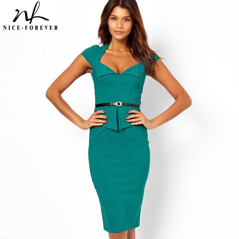 Nice Forever Summer Scoop Neck Sleeveless Solid Peplum Dress Women